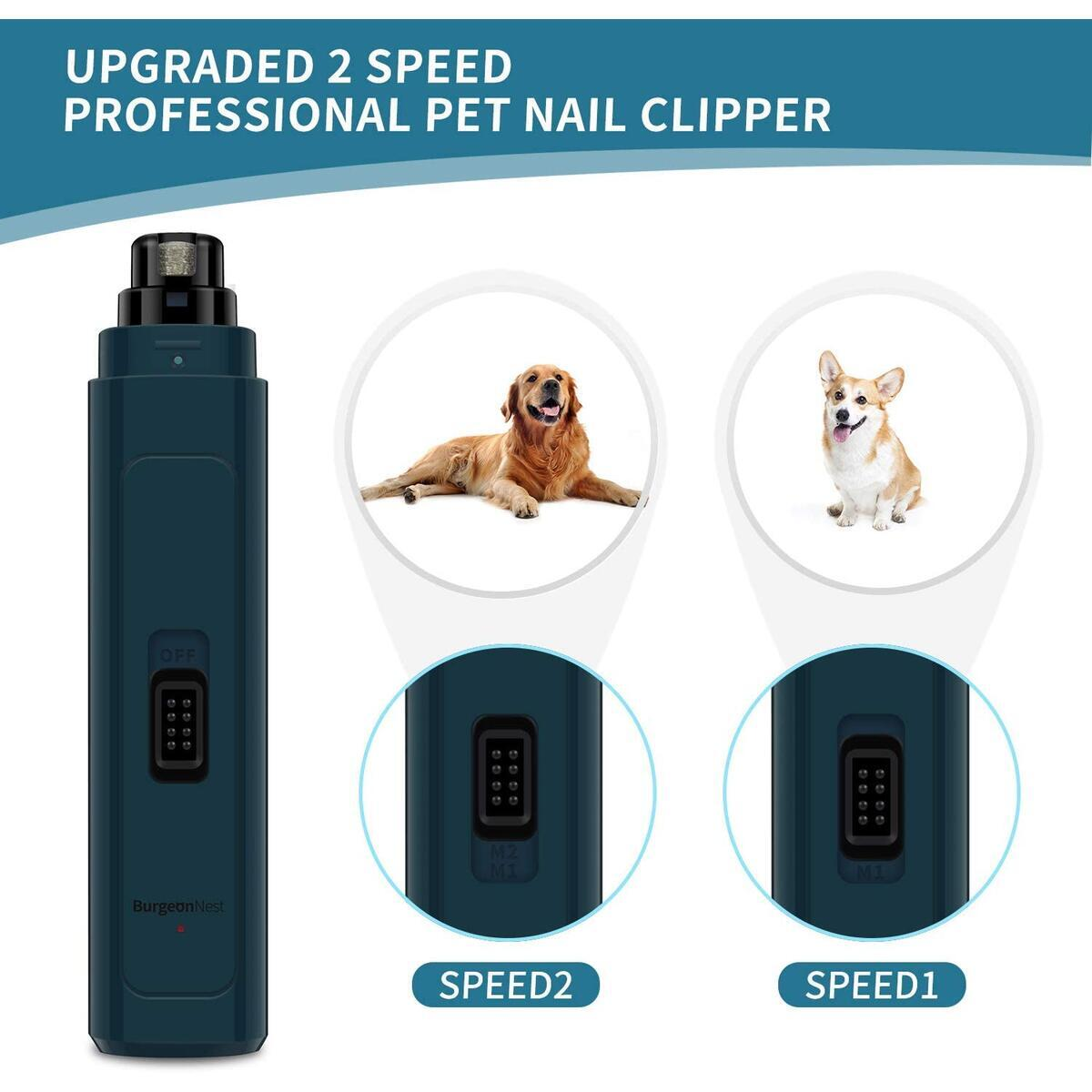 BurgeonNest Dog Nail Grinder Upgraded, 2-Speed Powerful Rechargeable Pet Nail Trimmers Clippers Quiet Electric Painless Paws Grooming & Smoothing for Small Medium Large Dogs & Cats