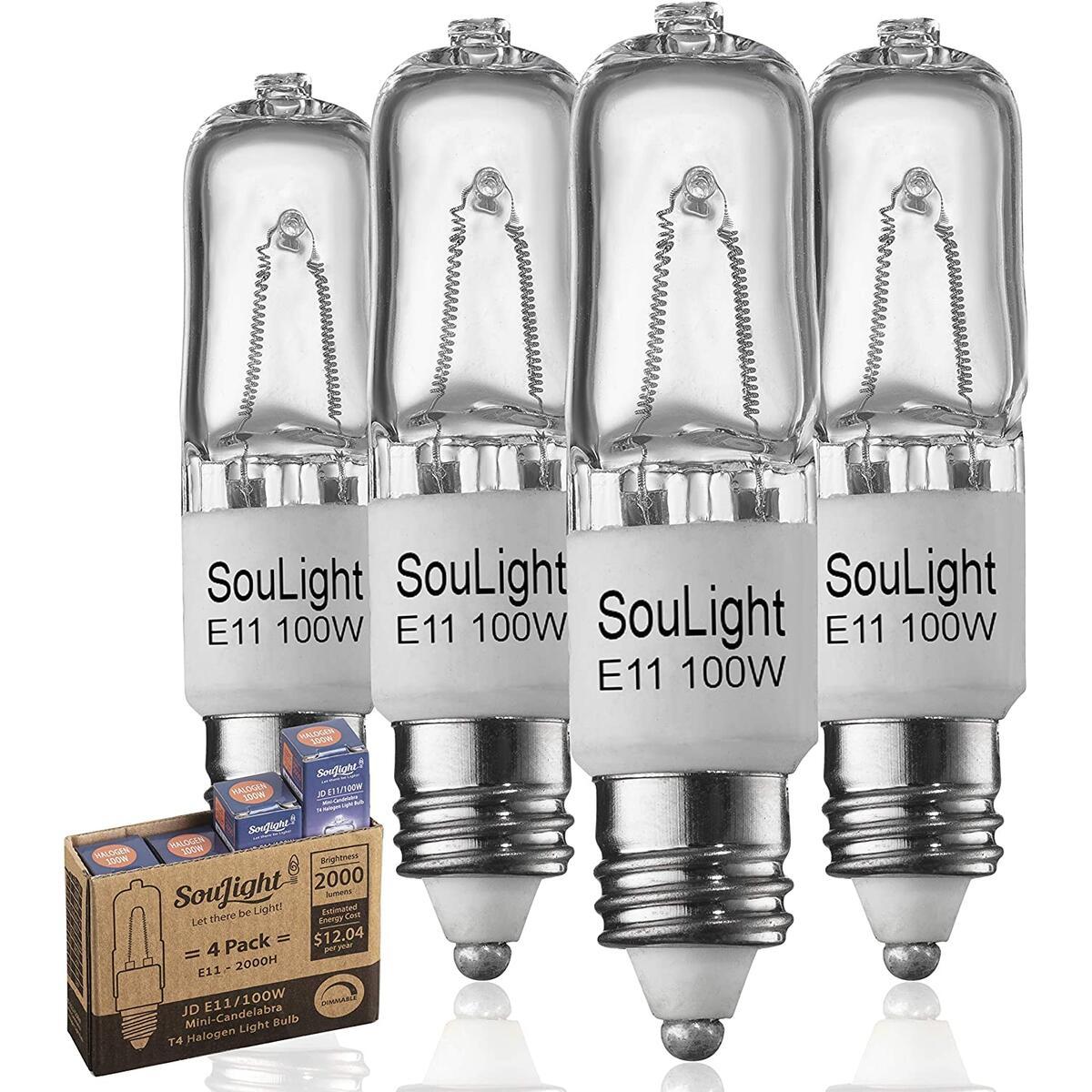 Halogen JDE11 120v 100W - Feit T4 E11 Mini-Candelabra Base Light Bulb - Warm White 2800K - Dimmable - Replacement Bulbs for Ceiling Fans, Chandeliers, Cabinet Lighting & More- 4 Pack
