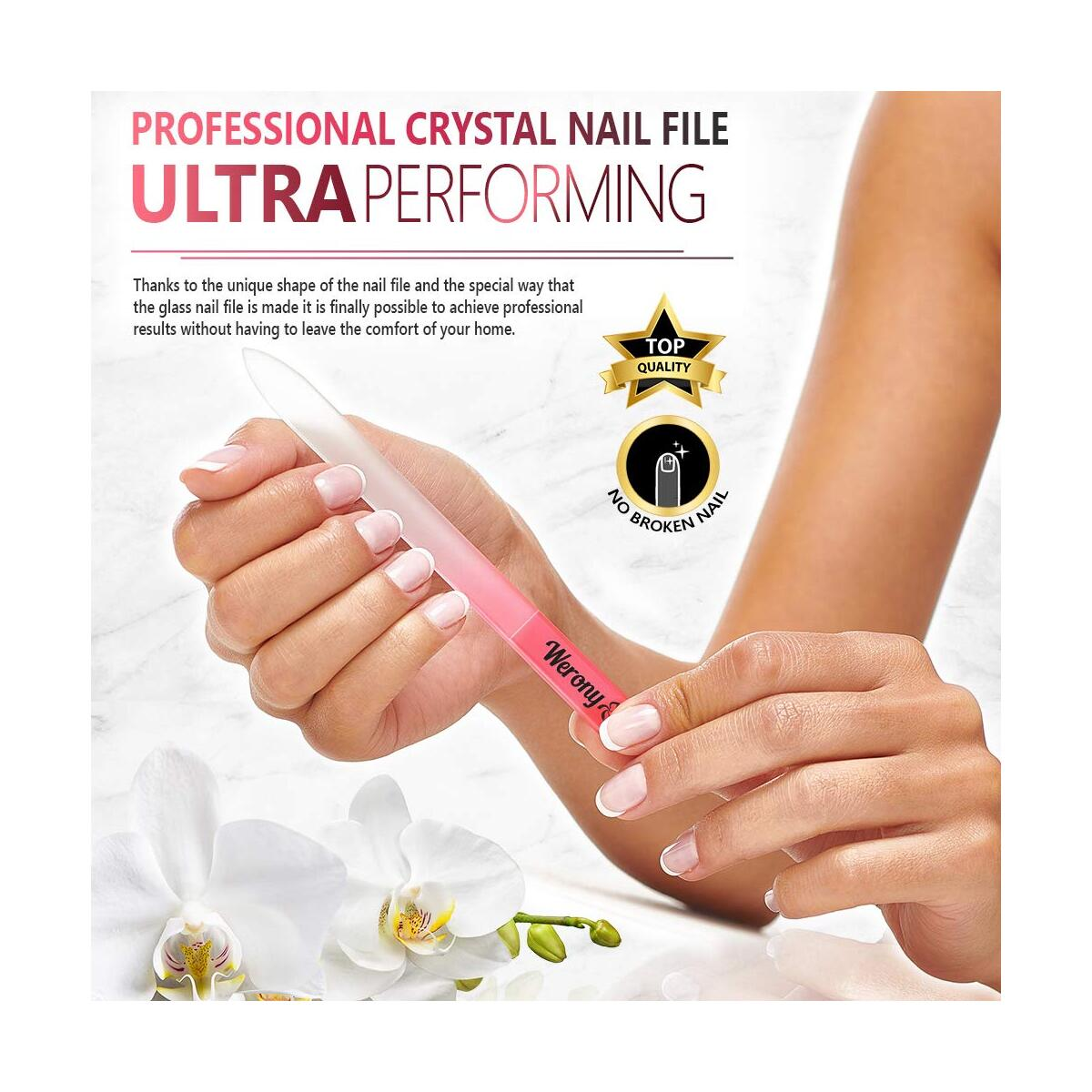 Glass Nail File - Manicure Nail Care - NEW COLOR - Premium Fingernail File for Natural Nails - Crystal Nail File for Women Perfect Choice from Nail Accessories