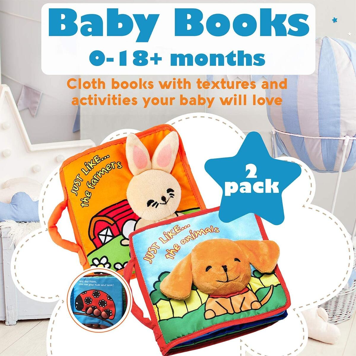 Premium Baby Book (First Year), Cloth Book Baby Gift, Fun Interactive Soft Book for Babies, Infants, Boys & Girls with Crinkly Sounds, Cute Baby Shower Box, Touch and Feel, Peekaboo (2 Pack)