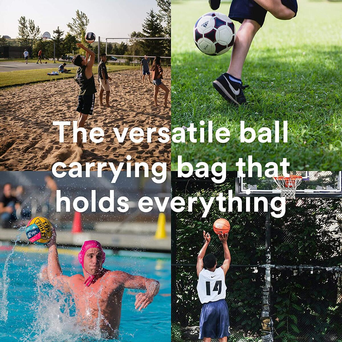 Fitdom Heavy Duty XL Basketball Mesh Equipment Ball Bag w/Adjustable Shoulder Strap Design for Coach with 2 Front Pockets for Coaching & Sport Accessories. This Carrier Can Store Up to 5 Basketballs