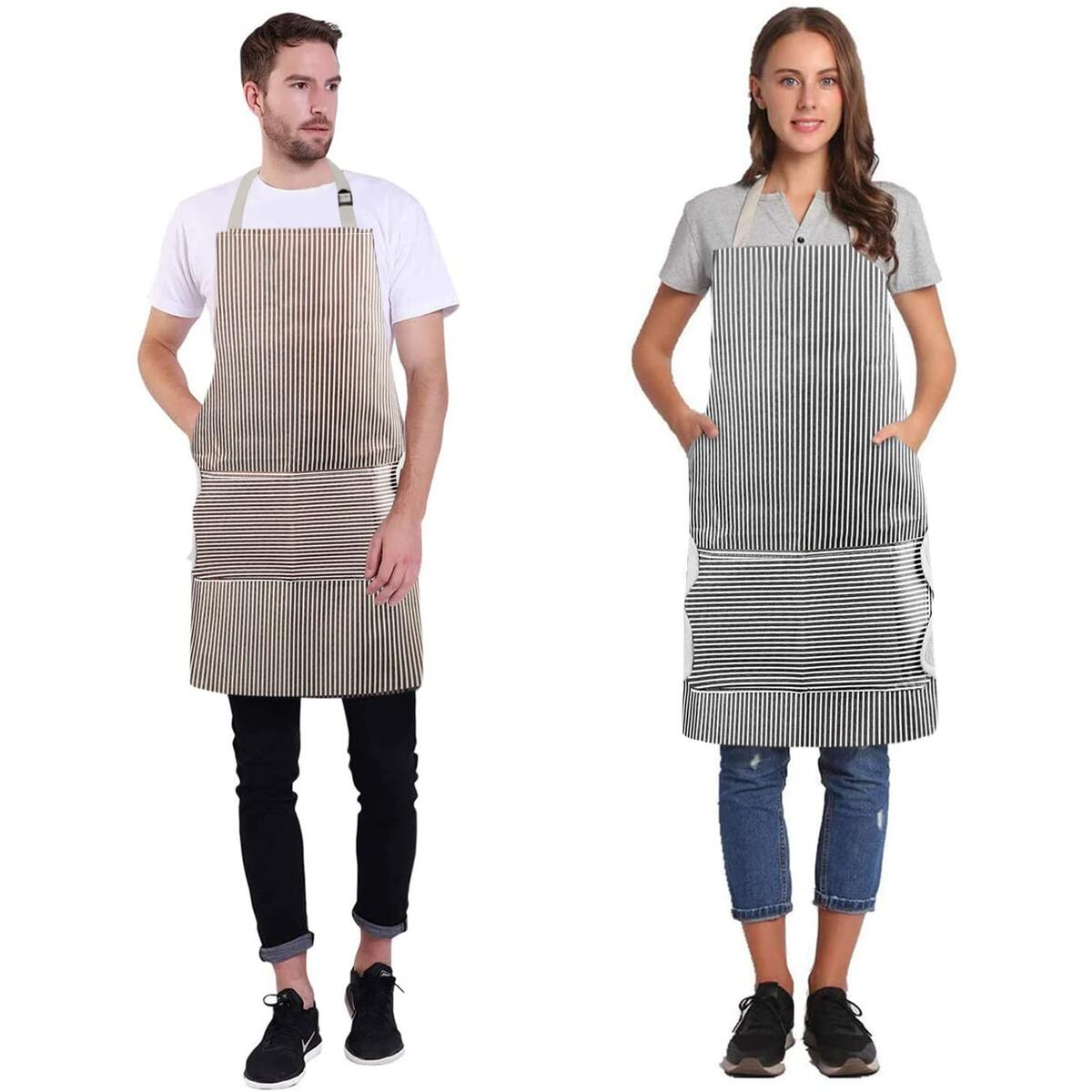 Sofore 2 Pack Adjustable Aprons, Waterproof & Oil-Proof Cooking Kitchen Aprons with 2 Pockets for Men Women, Coral Velvet Towels Stitched (Black &Coffee Stripe)