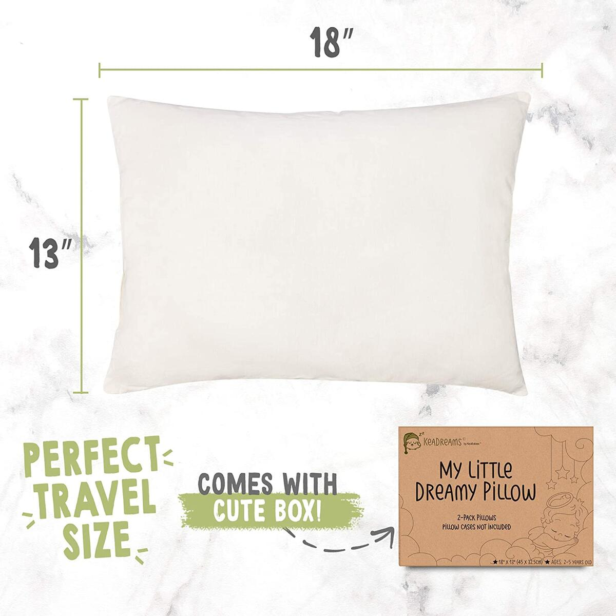 White Toddler Pillow for Sleeping - 2-Pack Soft Organic Cotton Baby Pillows for Sleeping - 13X18 Small Kids Pillow - Baby Pillow - Infant Pillow for Travel, School, Nap - White Pillows - Machine Wash