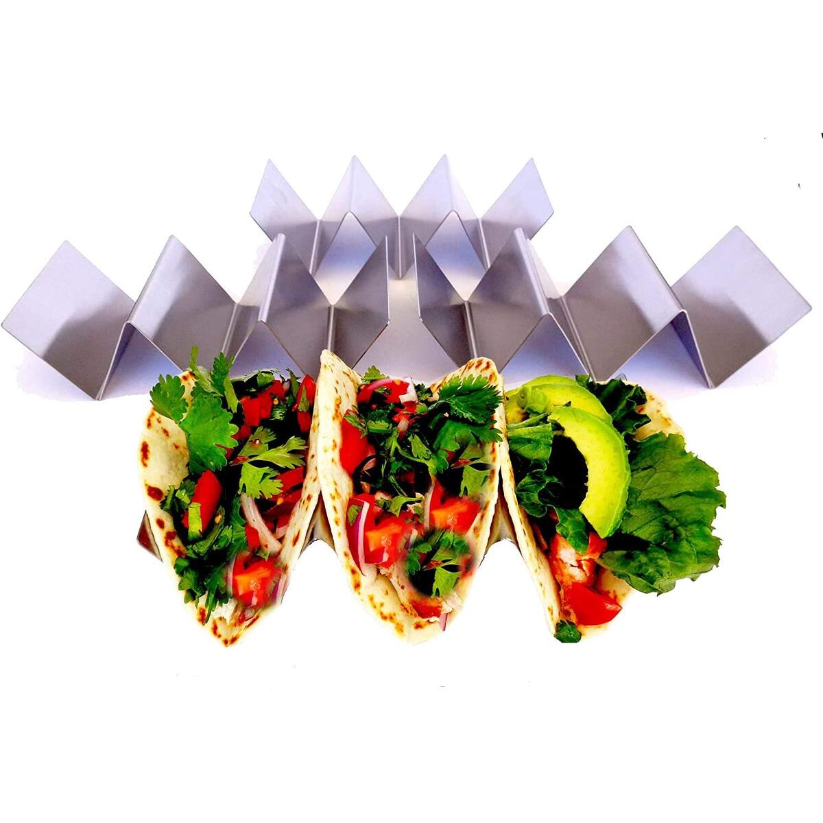 Taco Holder - Taco Holders, Stainless Steel with a Free Recipe Booklet - Taco Trays - Taco Stand Up Holder - Taco Stand - Taco Plates - Holds 3 Tacos - Dishwasher, Oven and Grill Safe