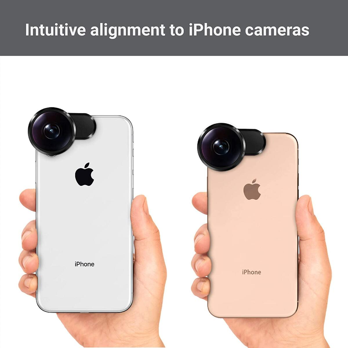 FusionLens, 360 Degree Video, 23:9 Cinematic Video, 8mm Wide-Angle, 180° Wide Selfie, 210° fisheye, 360° Photo & VR time-Lapse Video for iPhone X/XS/XS Max (Extendable)