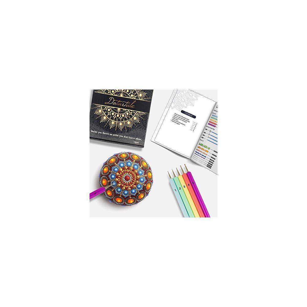 Mandala Dotting Tools Set - (34 PCS) Acrylic Paint Pens for Rock Painting, Dot Tools, Painting Tray, Storage Bag, Gemstone Stickers