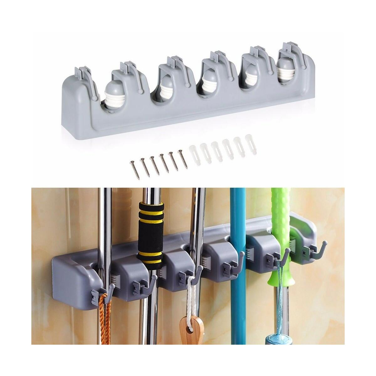 Broom Holder and Garden Tool Garage Organizer 5 Slots 6 Hooks for Rake Mop Wall
