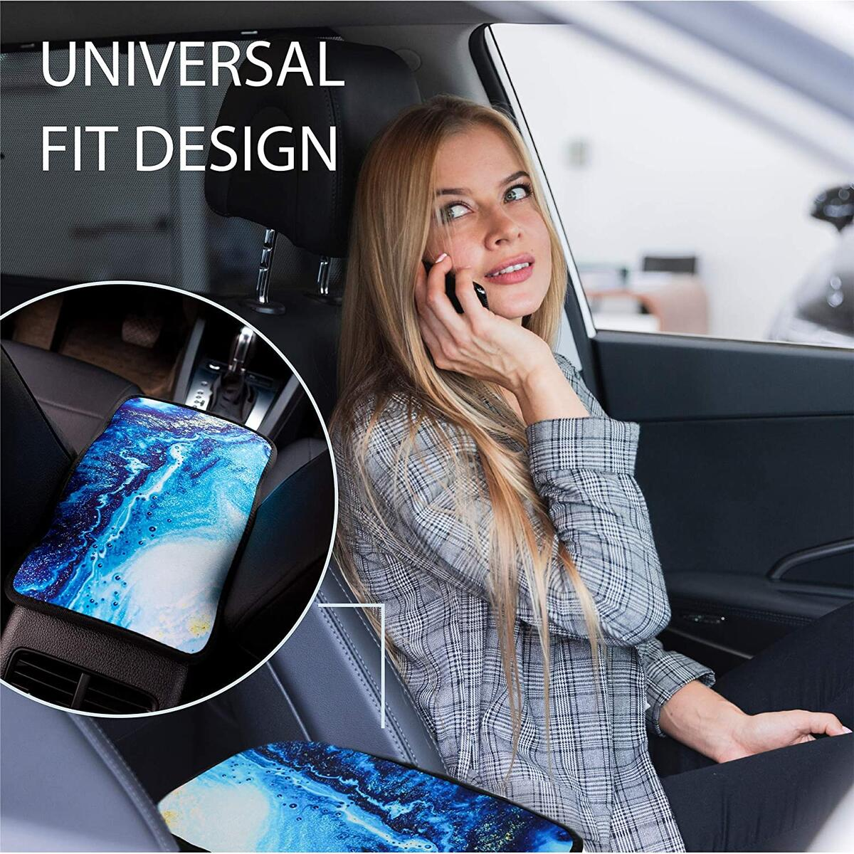 Universal Center Console Armrest Cover for Car with Car Coasters