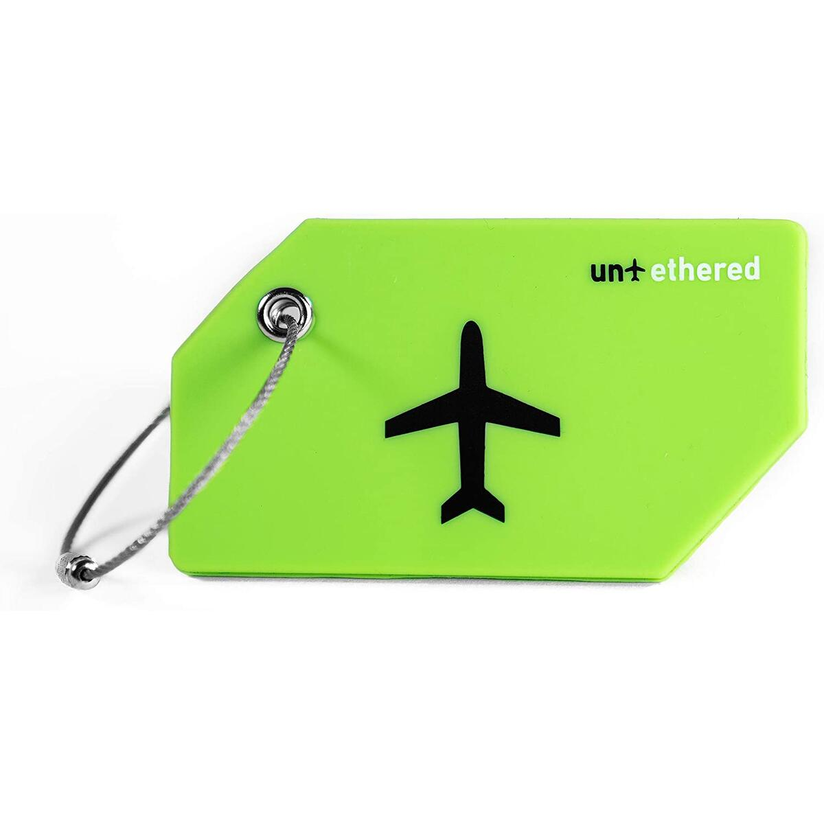 Untethered Luggage Tag Set | 4 Pack Flexible & Bright Silicone Baggage Tags for Travel & Suitcases. Includes Name Cards with Partial Privacy Cover & Stainless Steel Loops for Secure Fastening