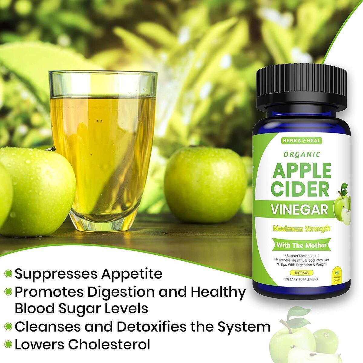 Organic Apple Cider Vinegar Capsules For Weight Loss & Detox with Lemon Powder, Inulin & Cayenne Pepper - All Organic Supplement - ACV Pills for Bloating Relief Metabolism Booster
