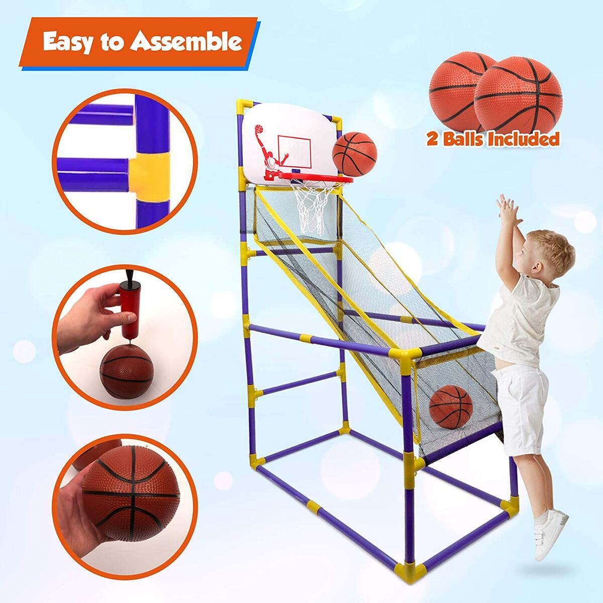 Point Games The Boomer Basketball Hoop Game, Indoor or Outdoor Arcade Sport Toy, Easy to Install, Fun and Entertaining - Recommended for Ages 3+