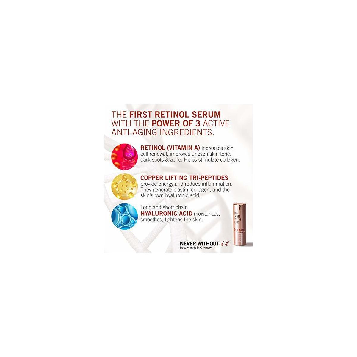 RETINOL SERUM With HYALURONIC ACID + Firming Peptides + Copper + Vitamins  | Tested VERY GOOD. Professional Skin Care Made in Germany