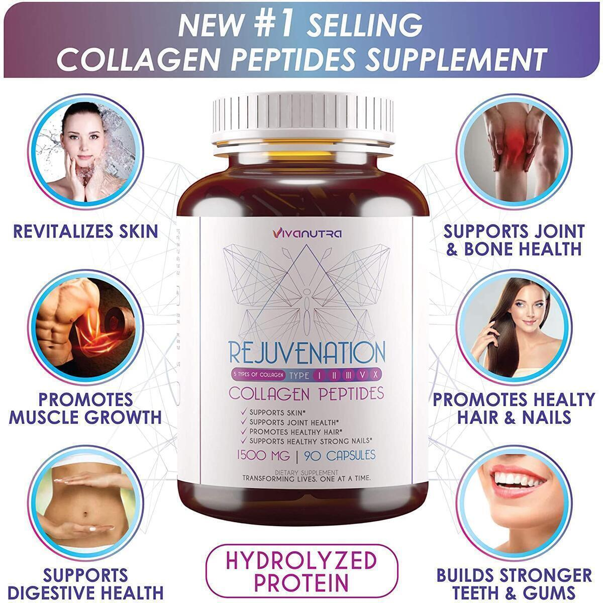 Multi Collagen Pills (Types I, II, III, V & X) - 90 Collagen Peptides Capsules - Pure Hydrolyzed Collagen Protein Supplement