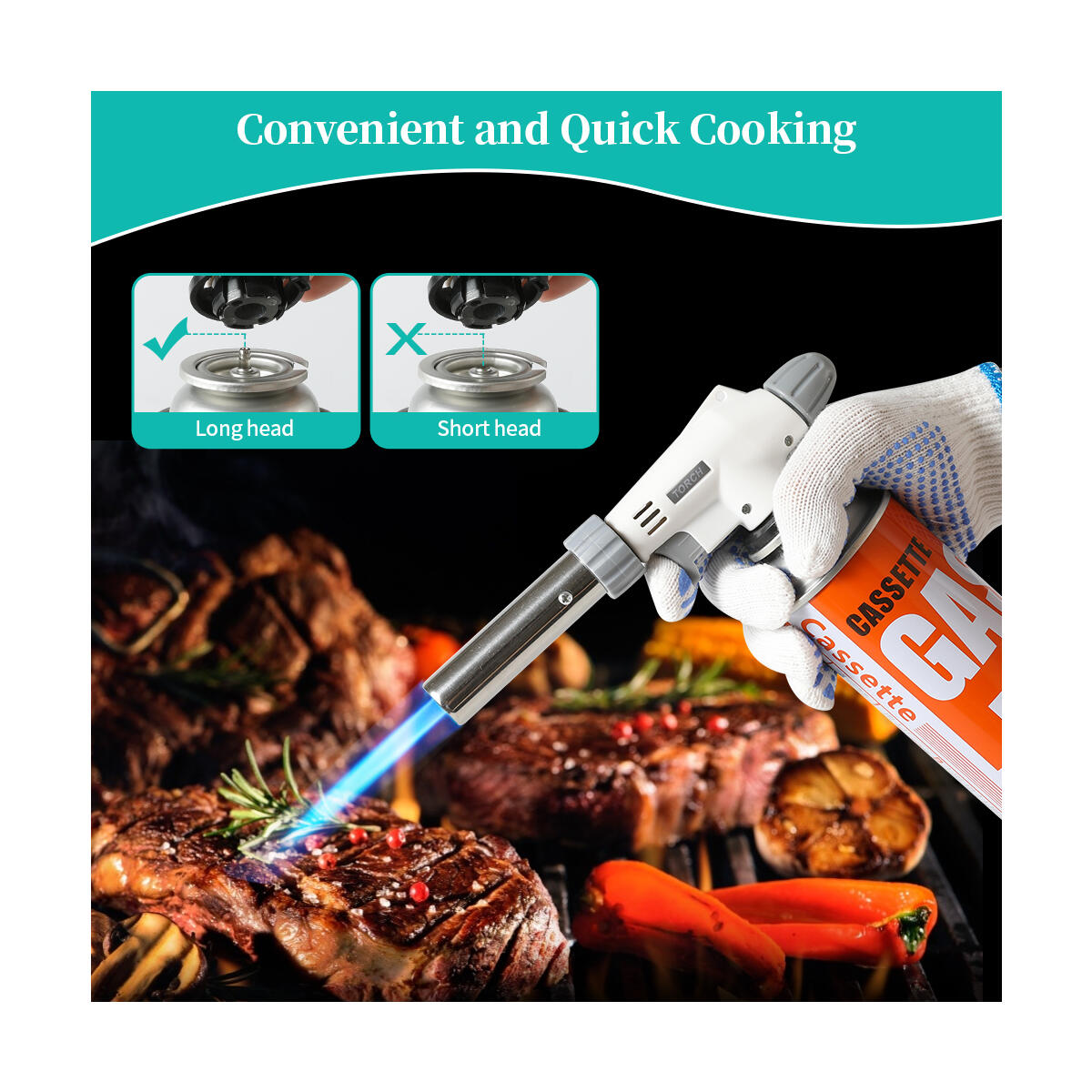 MINIDIO Butane Torch chef cooking professional adjustable flame -Cooking torch Kitchen butane torch lighter,cream, Caramel,pudding,BBQ,Baking (Excluding butane gas)