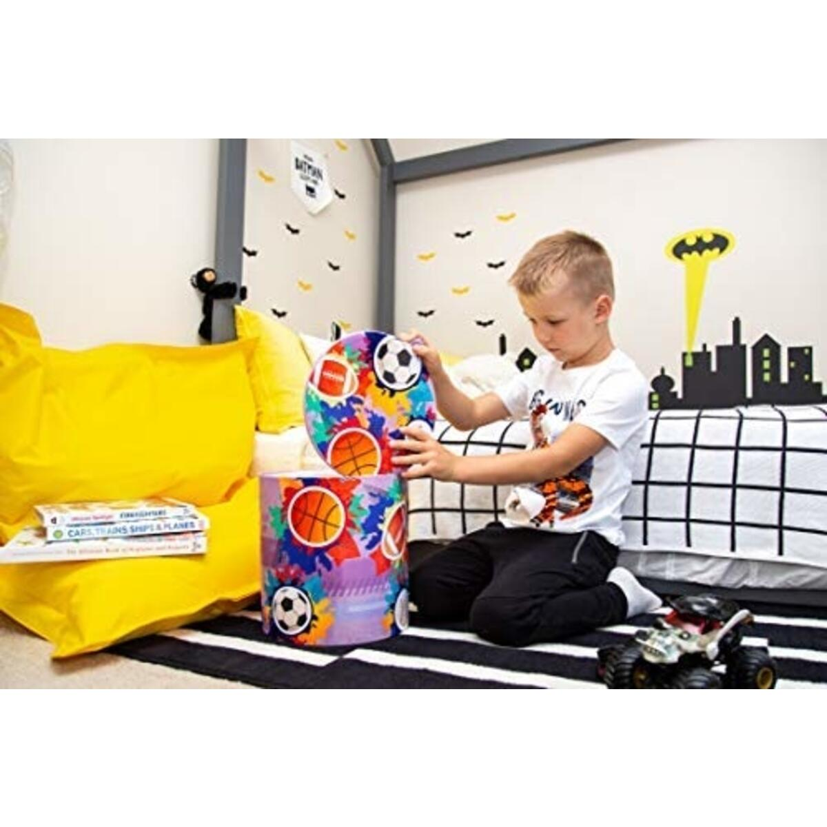 Kids Toy Storage Stool – Fun & Convenient Organization Stool for Modern Parents and Playful Children – Toys, Books or Blankets Organizer for Playroom, Living-Room & More