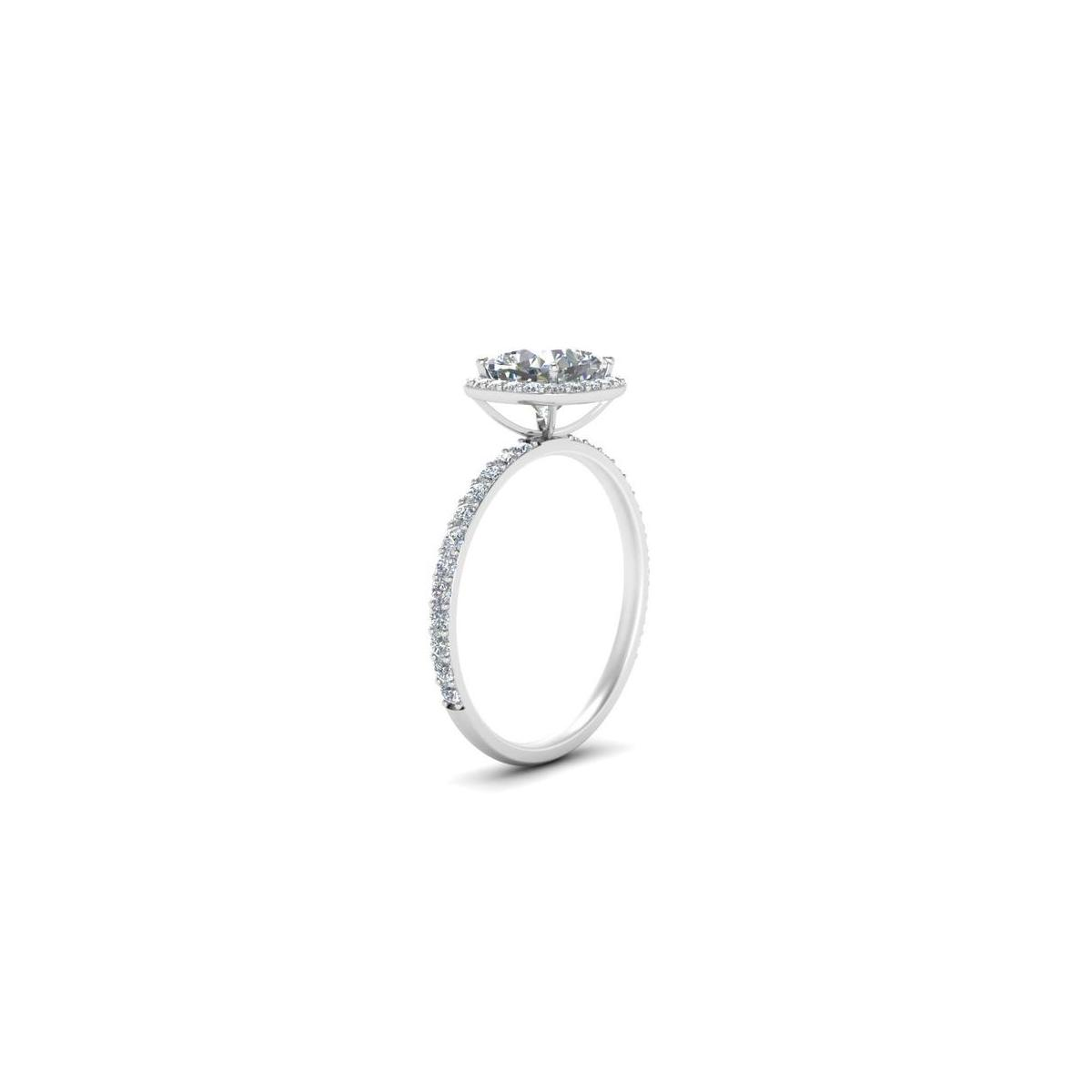 2 Carat Cushion Cut Halo Engagement ring in Pure Silver with 14k White gold plating (size 4-10)