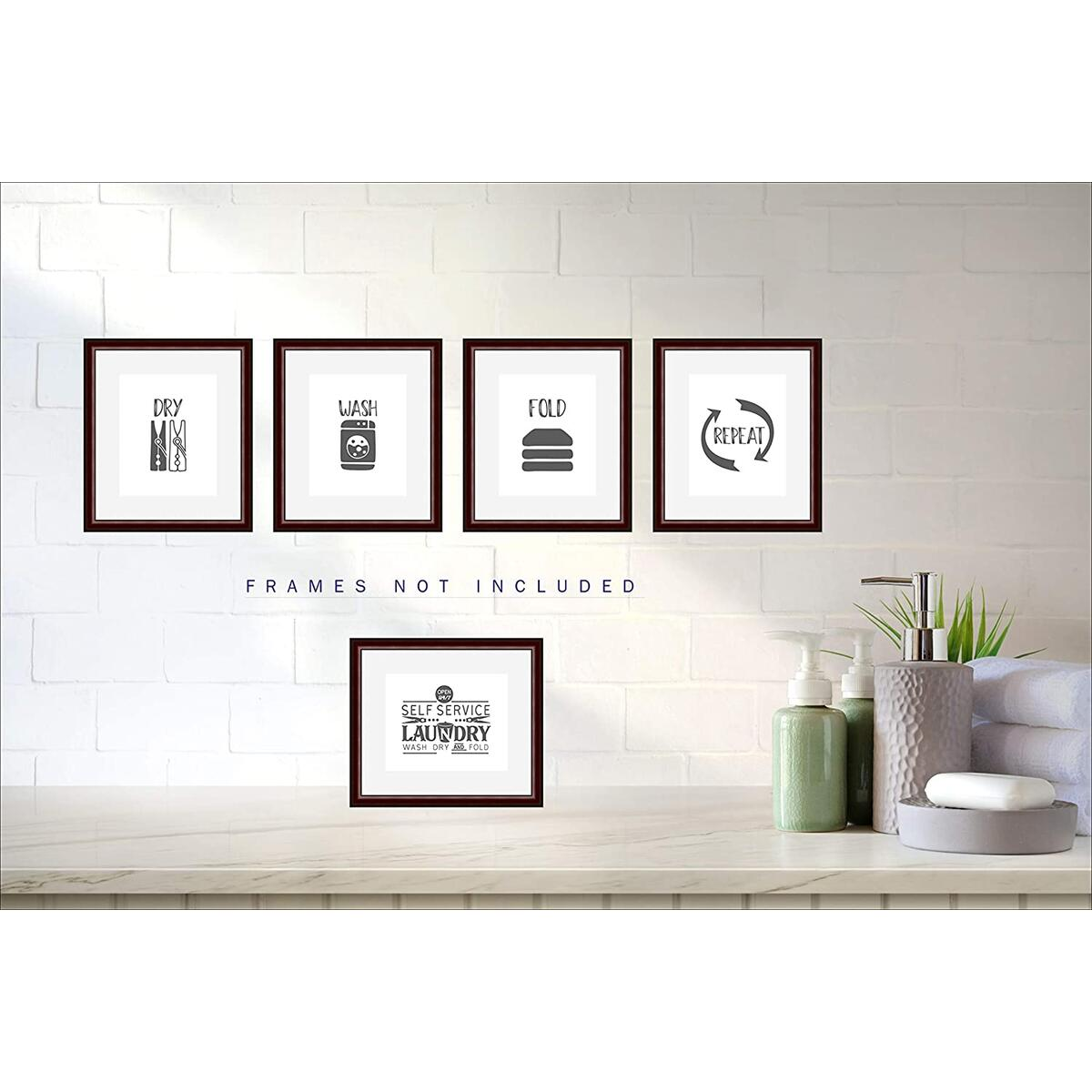 Laundry Room Wall Decor Prints by Linder - Set of 5 Rustic Farmhouse Laundry Room Sign and Wash Dry Fold Repeat Wall Prints - 8x10 inch Prints (Unframed)