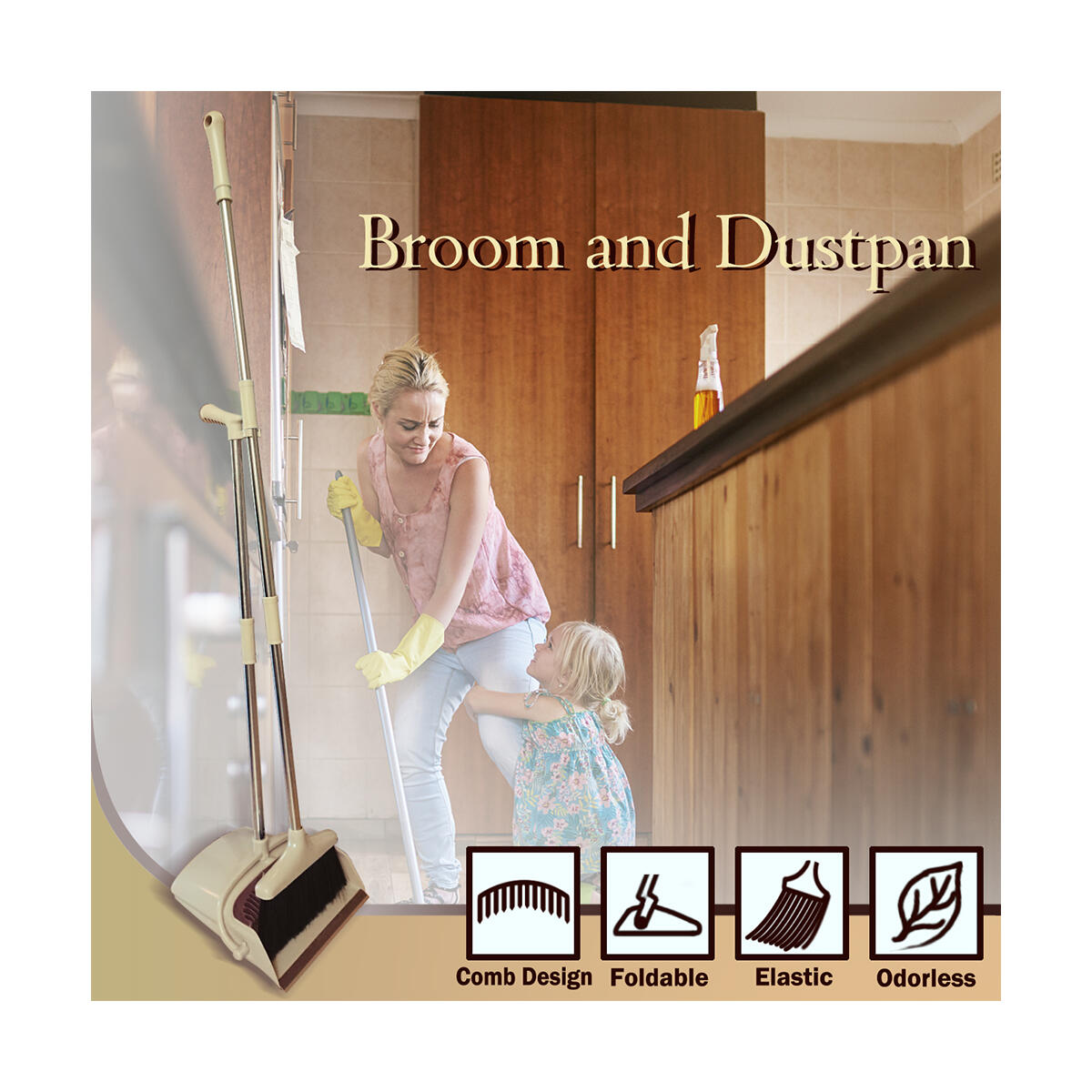 Broom and Dustpan Set Lightweight Upright Lobby Broom and Dust Pan Combo with Long Handle Outdoor Indoor for Home Kitchen Room Office(Brown)