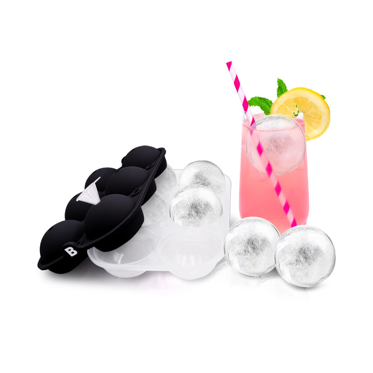 Ice Tray - Round Ice - 6 Balls - FREE Funnel Included