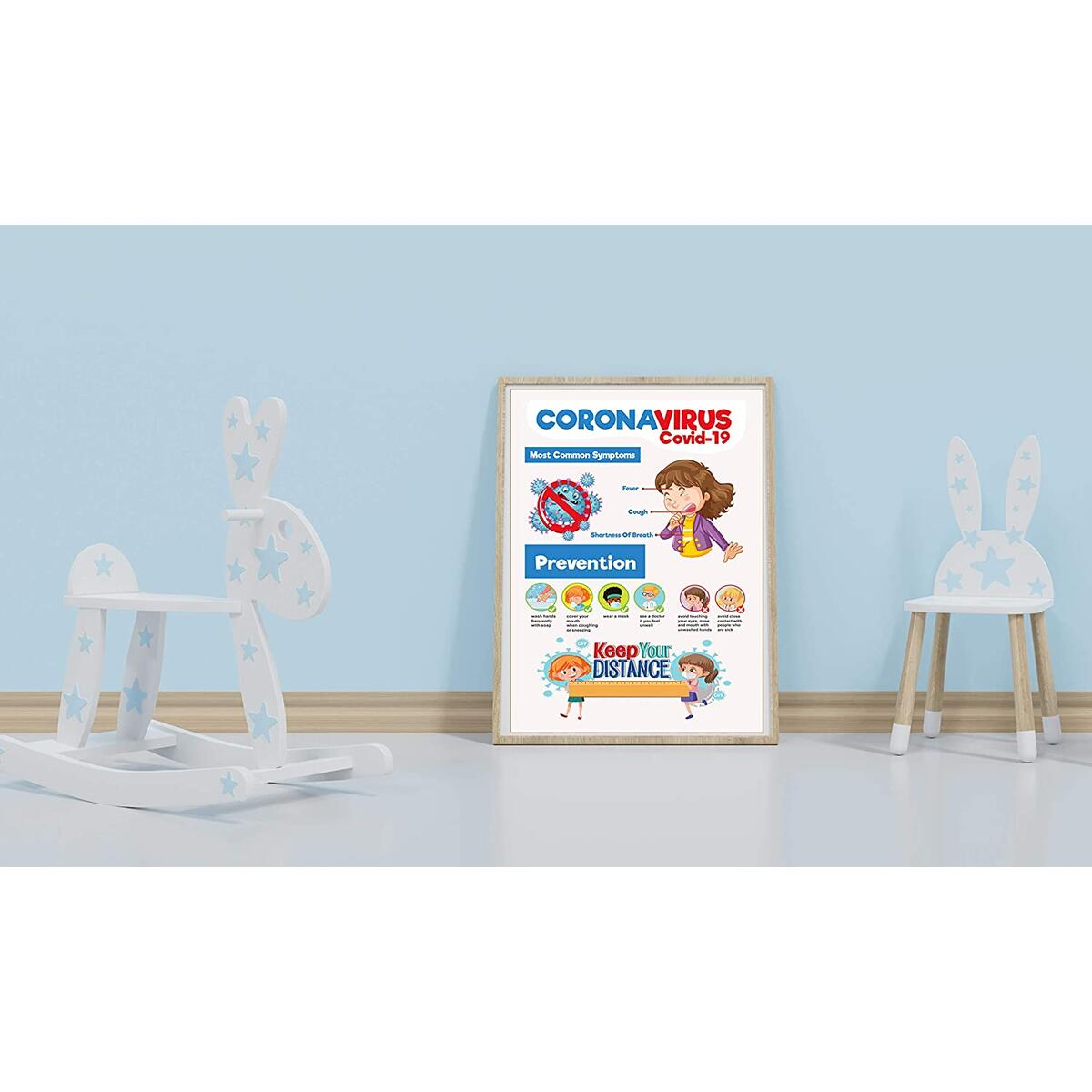 Social Distancing Sign - Pack of 5 - Keep Your Distance Wall Sign Posters, Symptoms and Prevention (Cardstock, 11