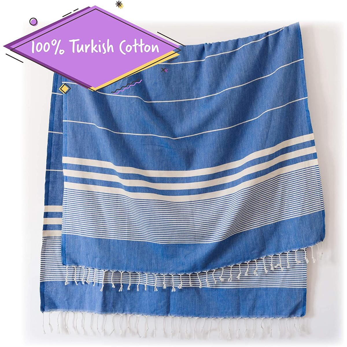 Turkish Towels by SunSpun Linens (Blue) - 39x71in No-Shrink Pre-Washed Pestemal Cotton Oversized Turkish Beach Towel and Blanket, Turkish Bath Towels, Turkish Beach Towels, Bath Towel, Bathroom Towels
