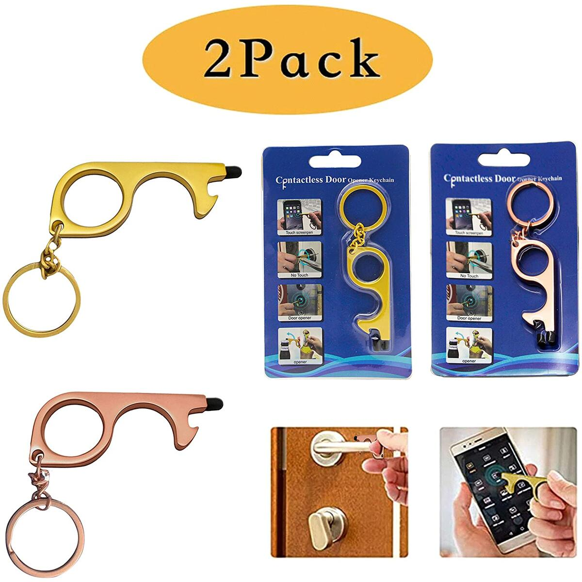 No Touch Door Opener No touch door opener Tool Handheld EDC Keychain Tool For Surfaces Closer Contactless Safety Door Opener Smart Key Tool Touchscreens AB&T 2 Pack (Gold Pink)