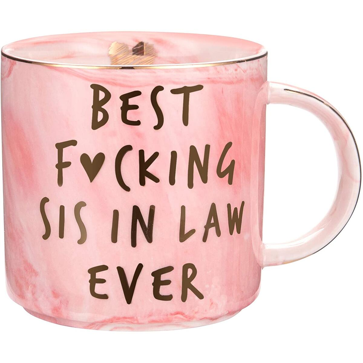 Sister In Law Gifts - Best Sis In Law Ever - Funny Sister In Law Birthday Gift, Sister In Law Engagement, Wedding Gift, New Sister In Law, Sister In Law To Be - Pink Marble Mug, 11.5oz Coffee Cup