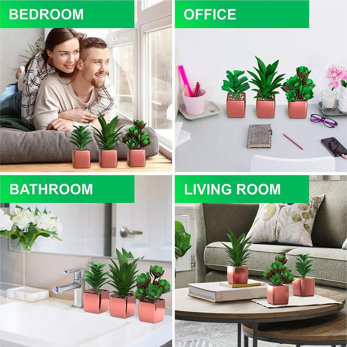 Faux Succulent Fake Plants in Rose Gold Pots | Office Décor for Women Desk | Set of 3 Small Realistic Artificial Succulents | Aesthetic Room Bedroom & Bathroom Decor