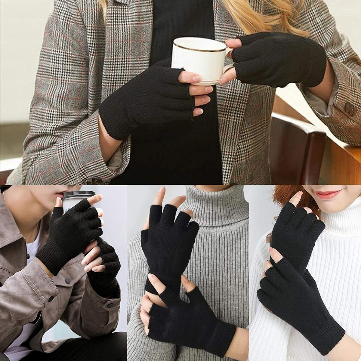 2 Pair Half Finger Gloves Winter Knit Touchscreen Warm Stretchy Mittens Fingerless Gloves in Common Size for Men and Women,black