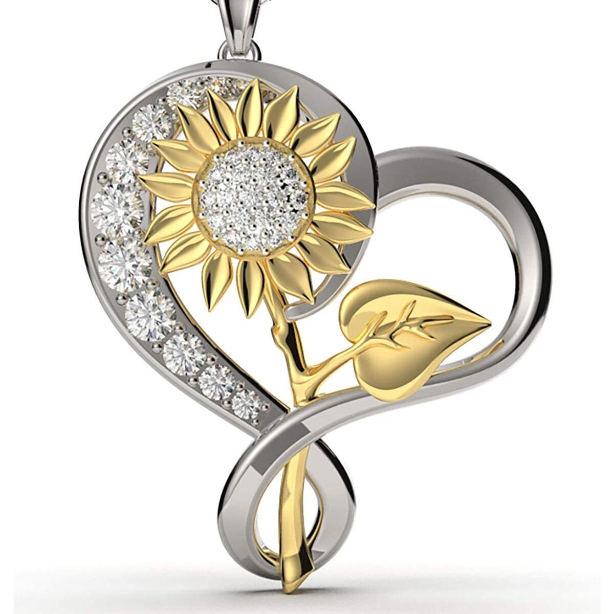 QS QUALITY SCAPE Women and Girl's Jewelry Fashion Sunflower Love Heart Pendant Necklace with Chain and Gift Box