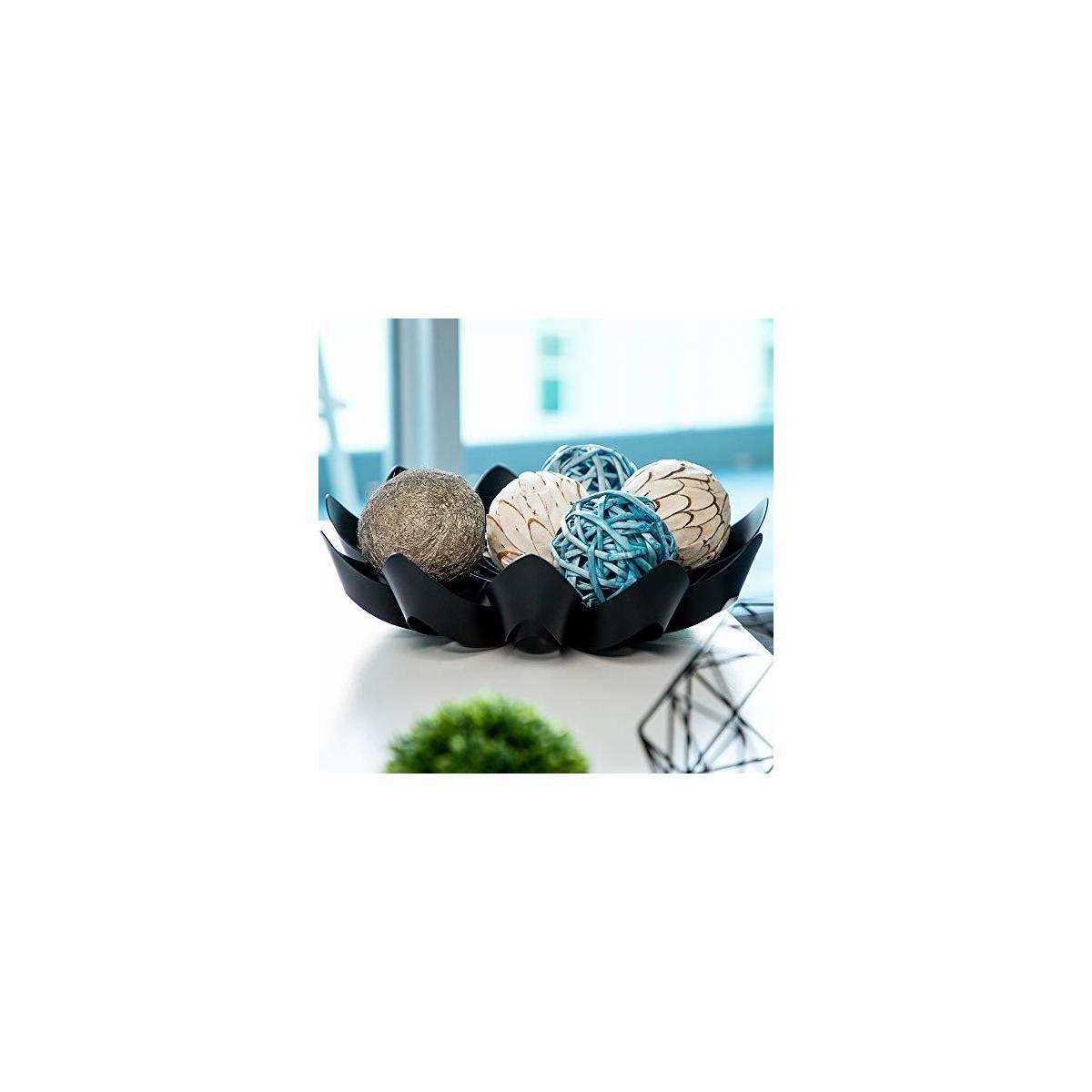 éscu Modern Fruit Bowl for Kitchen Table and Countertop Decor - Black, 15