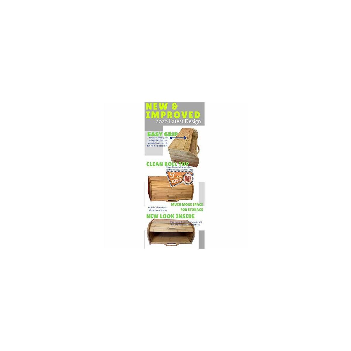 New Easy Grip Large Storage Bamboo Bread Box For Kitchen Counter