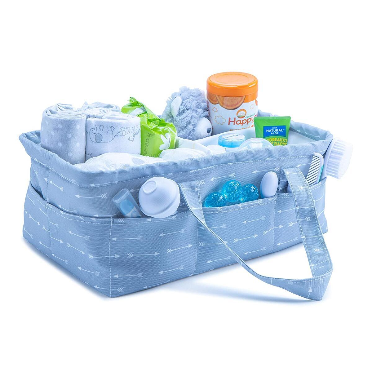 Baby Diaper Caddy Organizer - | Large Nursery Storage Bin for Changing Table | Shower Gift Basket | Car Travel Tote Bag | Newborn Registry Must Have…