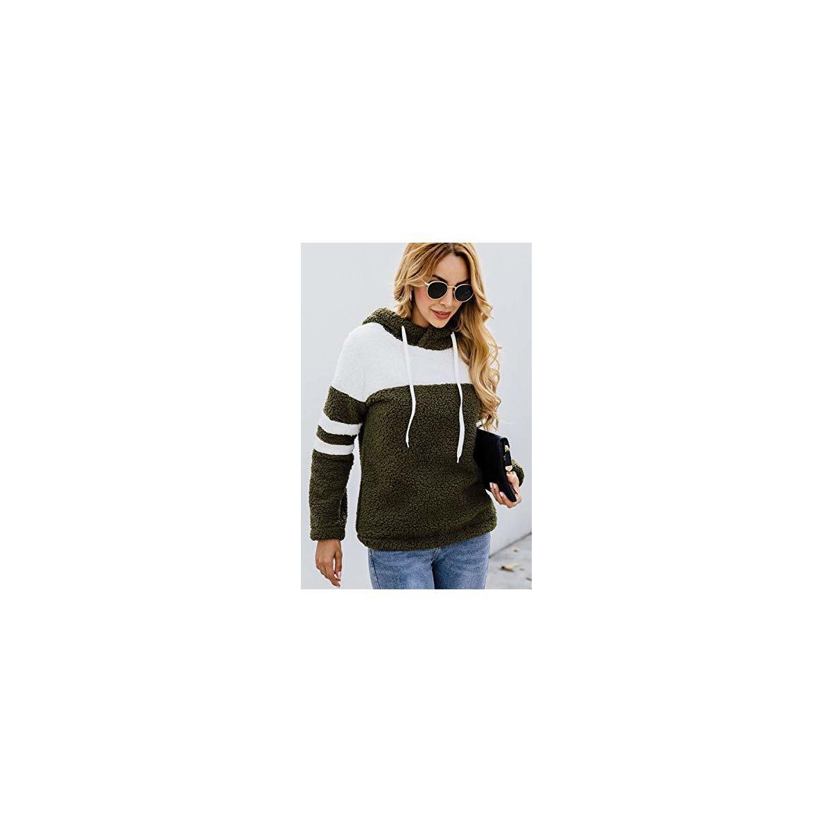 Women's Sherpa Pullover Hooded Fleece Jacket Striped Color Block Drawstring Sweater Tops