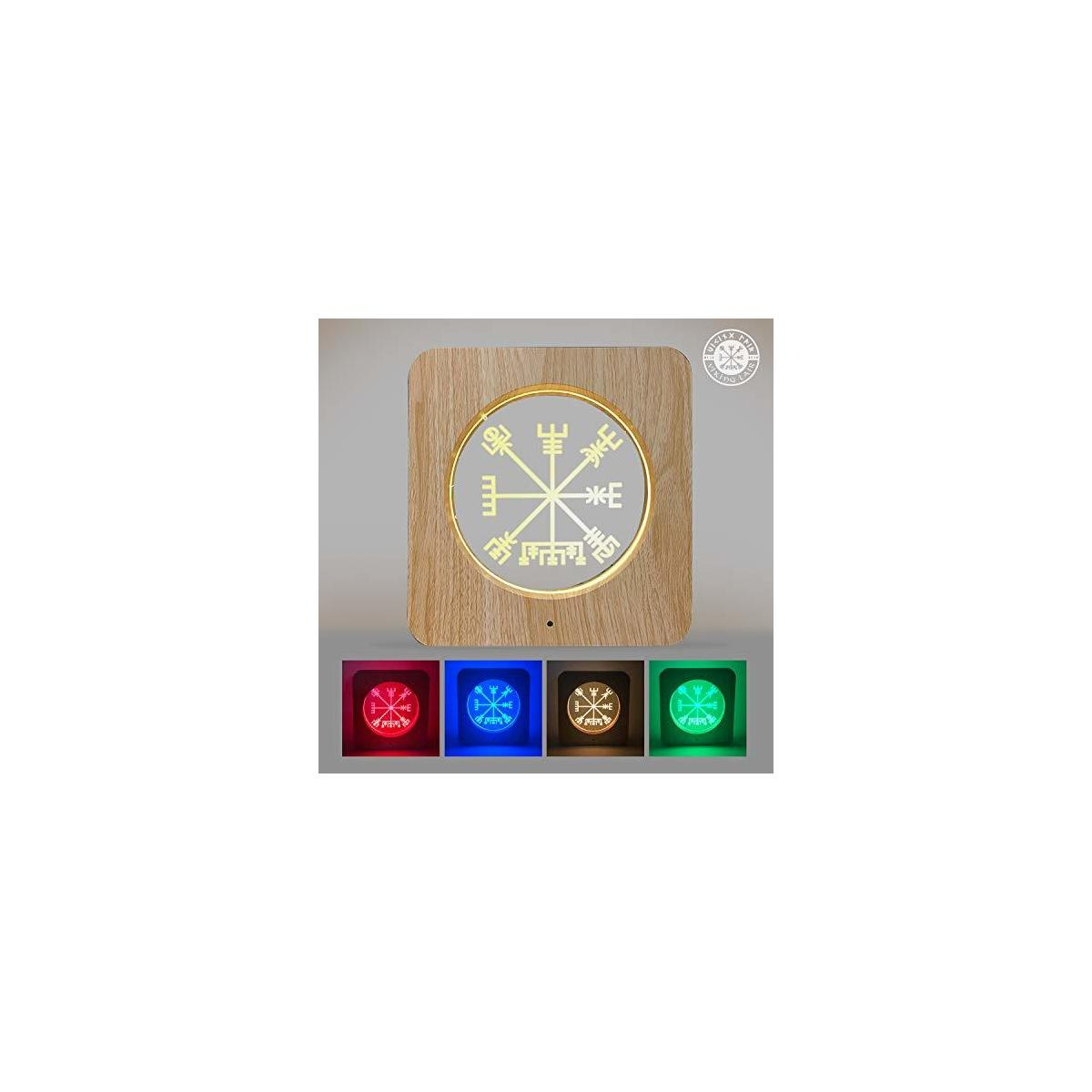 Viking Vegvisir 3D Night Light - Acrylic Table Lamp Wooden Frame Decor with 7 Colors Change Optical Illusion Touch & Remote Control - Bedside LED Nightlight for Kids, Boys & Girls (Vegvisir)