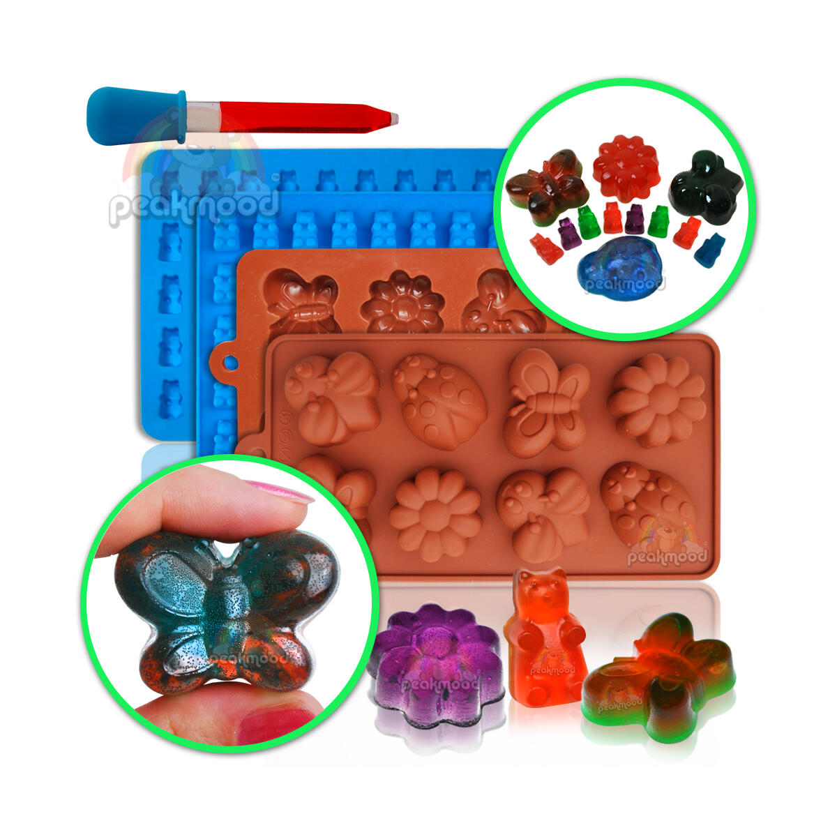 Gummy bear molds | Gummy molds with bee butterfly lady bug and flower silicone molds