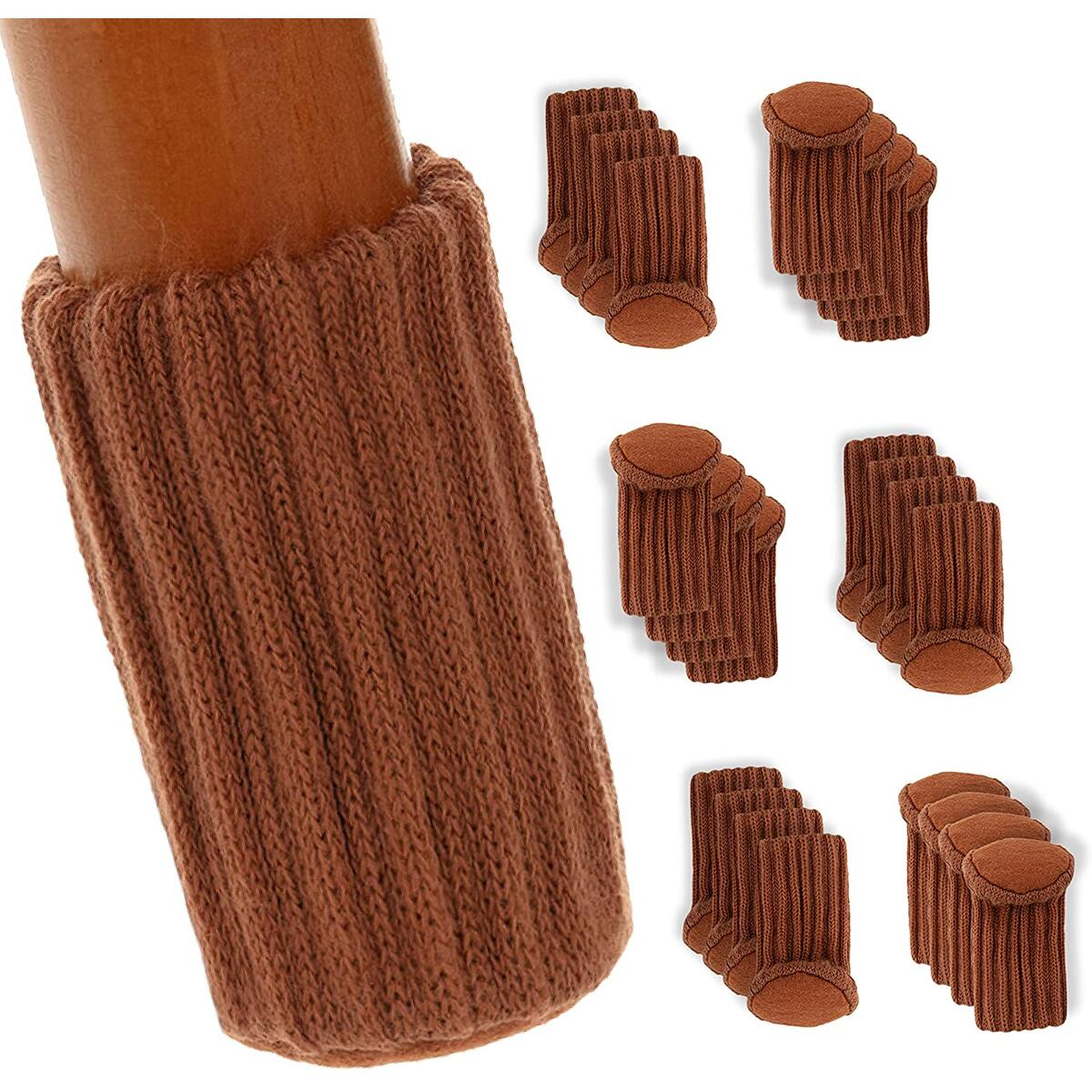 FLOOR DEFENDERS Chair Socks, 24 Pack – The Un-Holey, Firm-Grippy, Near-Silent Felt Padded Floor Protector Socks – Robust High-Density Fiber – Furniture Pads, Brown – Legs & Chairs