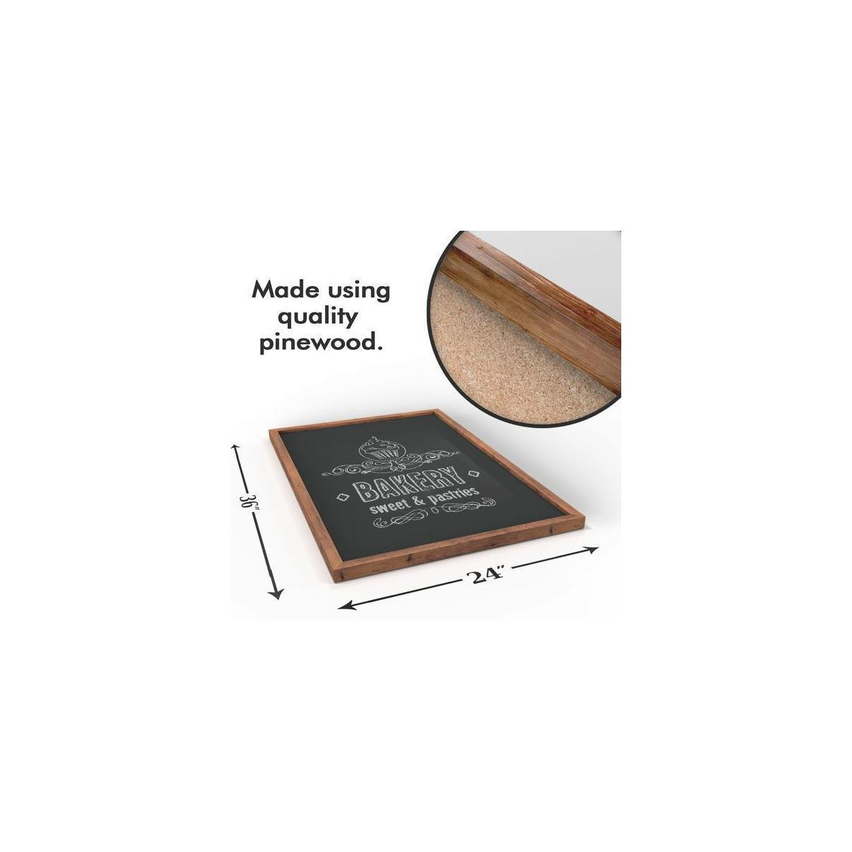 Large Wood Framed Magnetic Chalk Board - 36 x 24