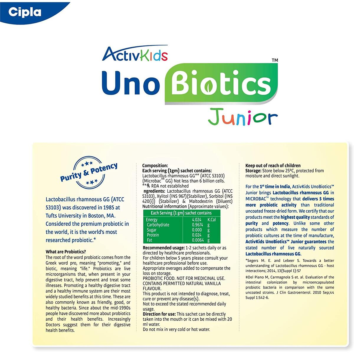Cipla ActivKids Unobiotics Junior with 5X More Probiotic Activity-Helps Build Immunity & Refills Good Bacteria–Probiotics for Kids 10 Sachet Pack