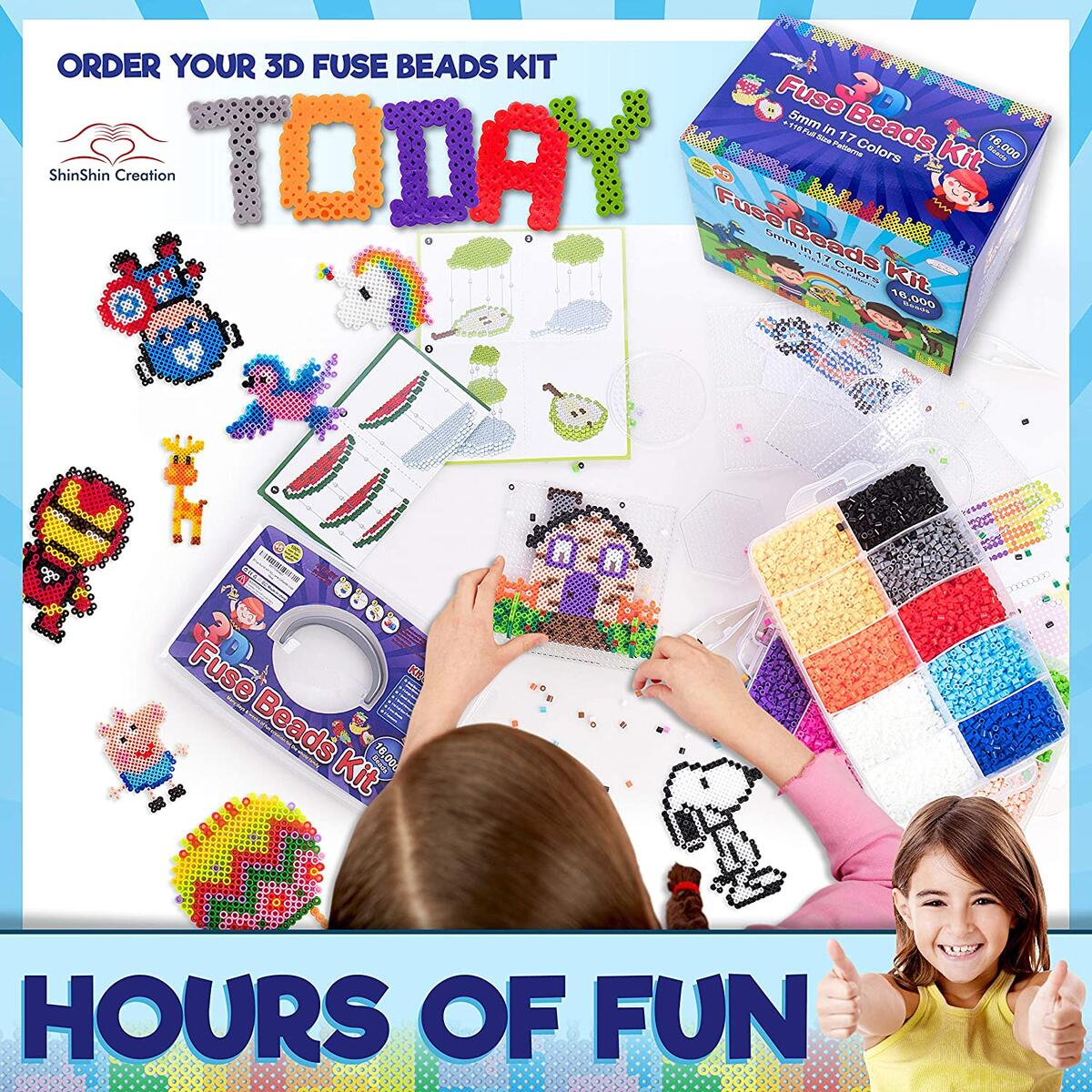 3D Fuse Bead Kit with 16,000 5MM Sorted Beads 36 Detailed 3D Patterns and Pegboards perler Compatible (Large)