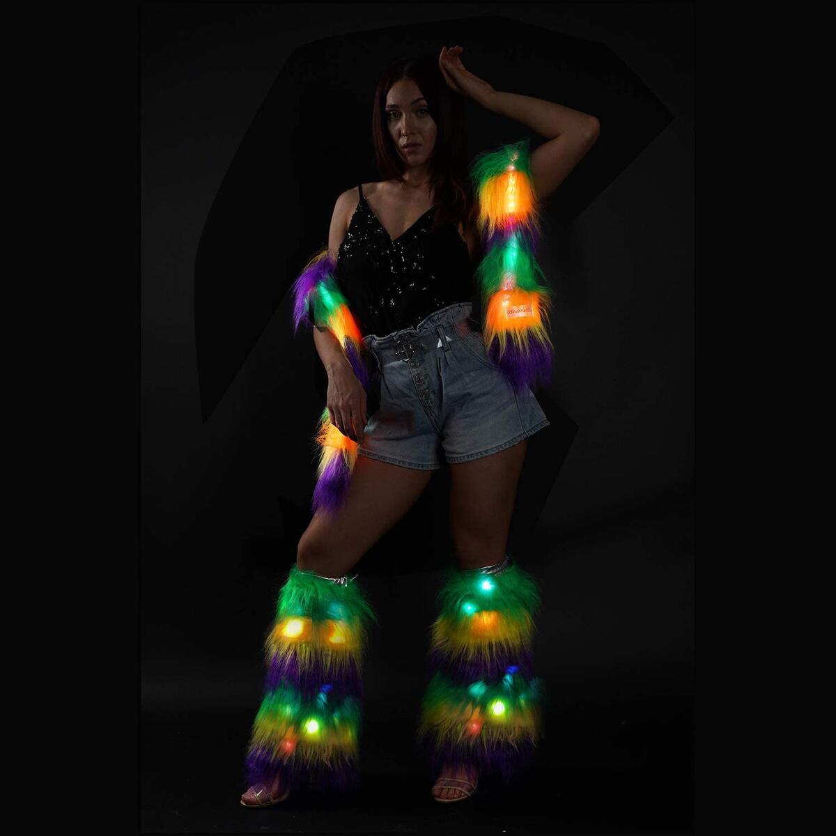 Mardigras Scarf Rainbow Led Light Up Fur Boa