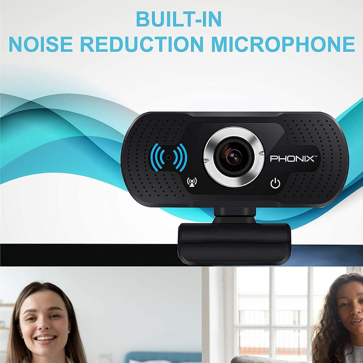PHONIX USA HD 1080P Webcam with Microphone USB Noise Canceling Computer Web Camera
