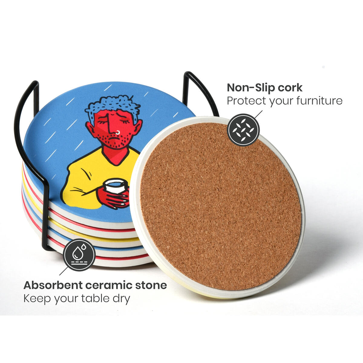 Coasters for Drinks (6pcs) - Funny Ceramic Coasters with Unique Mood Artwork - Absorbent Coasters with Holder - Stone Coaster Set by JoeDeco