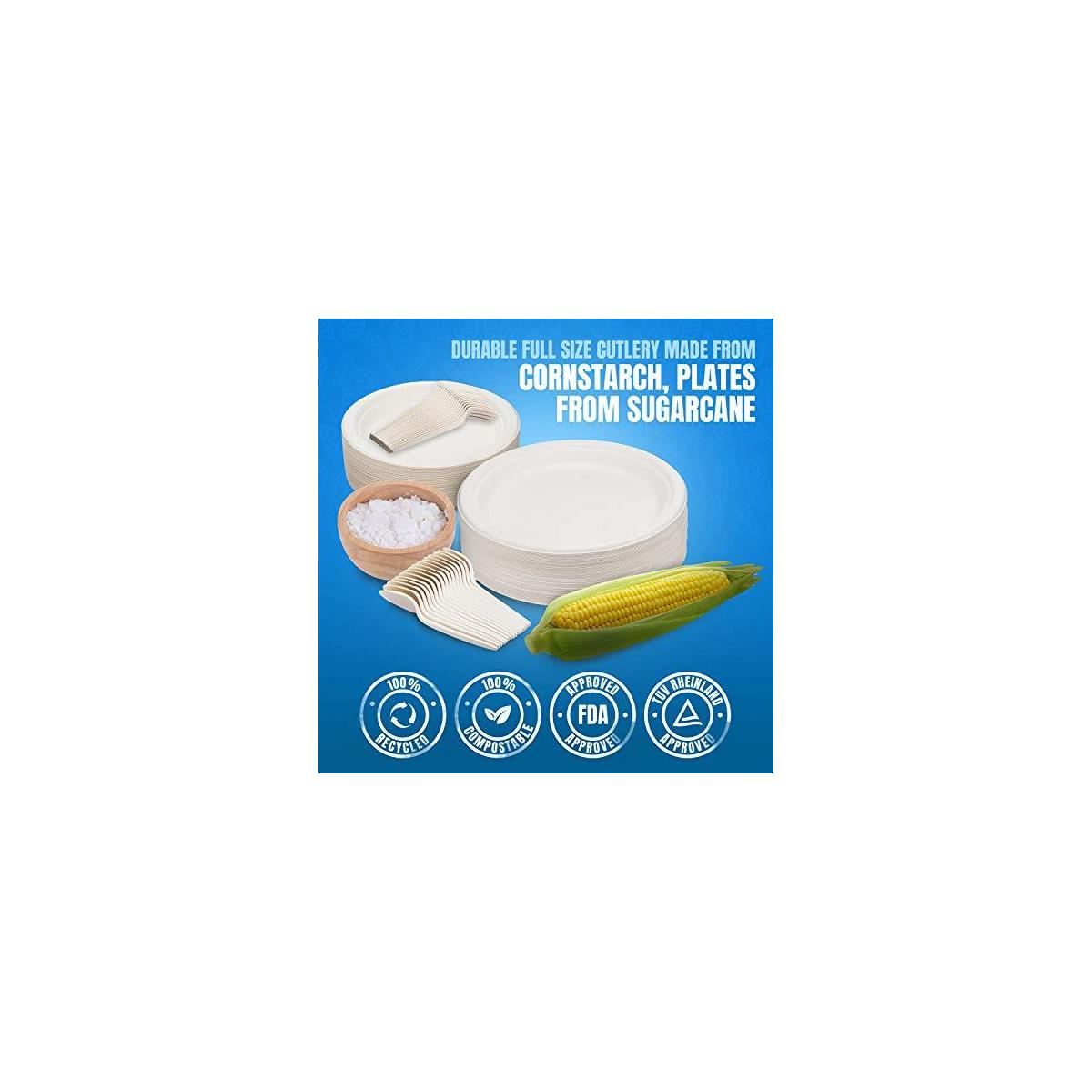 250Pcs Compostable paper plates, Biodegradable, Disposable, Heavy duty, Recycled paper plates, eco-friendly disposable utensils, Dinner Plates, Dessert Plates, Forks, Knives & Spoons (50 Each)