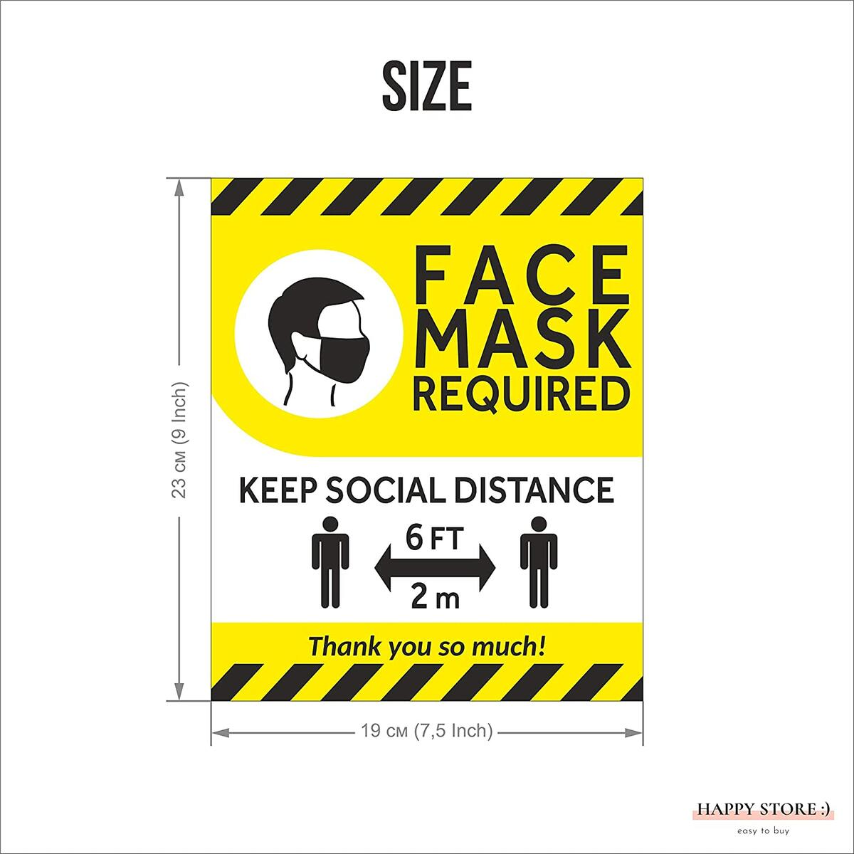 HAPPY STORE:) Pack of 5 face masks required signs| Masks required decal 7,5х9''| Face mask stickers| Mask required to enter sign| Entry reminder please wear face mask decal| Indoor & Outdoor| Sign (Yellow, Medium)