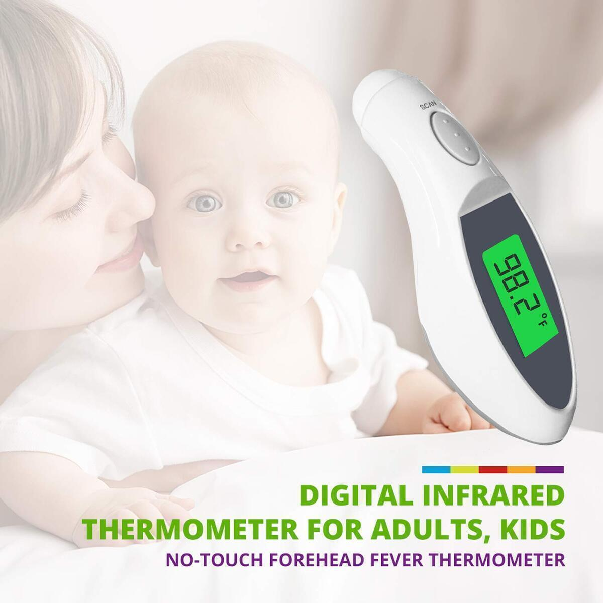 Njoyt Forehead Thermometer for Adults and Kids - Quick, Non-Contact Infrared Fever Monitoring Gauge - Lightweight, Easy to Read Digital LCD Display - Accurate & Instant Body Heat & Temperature Scanner