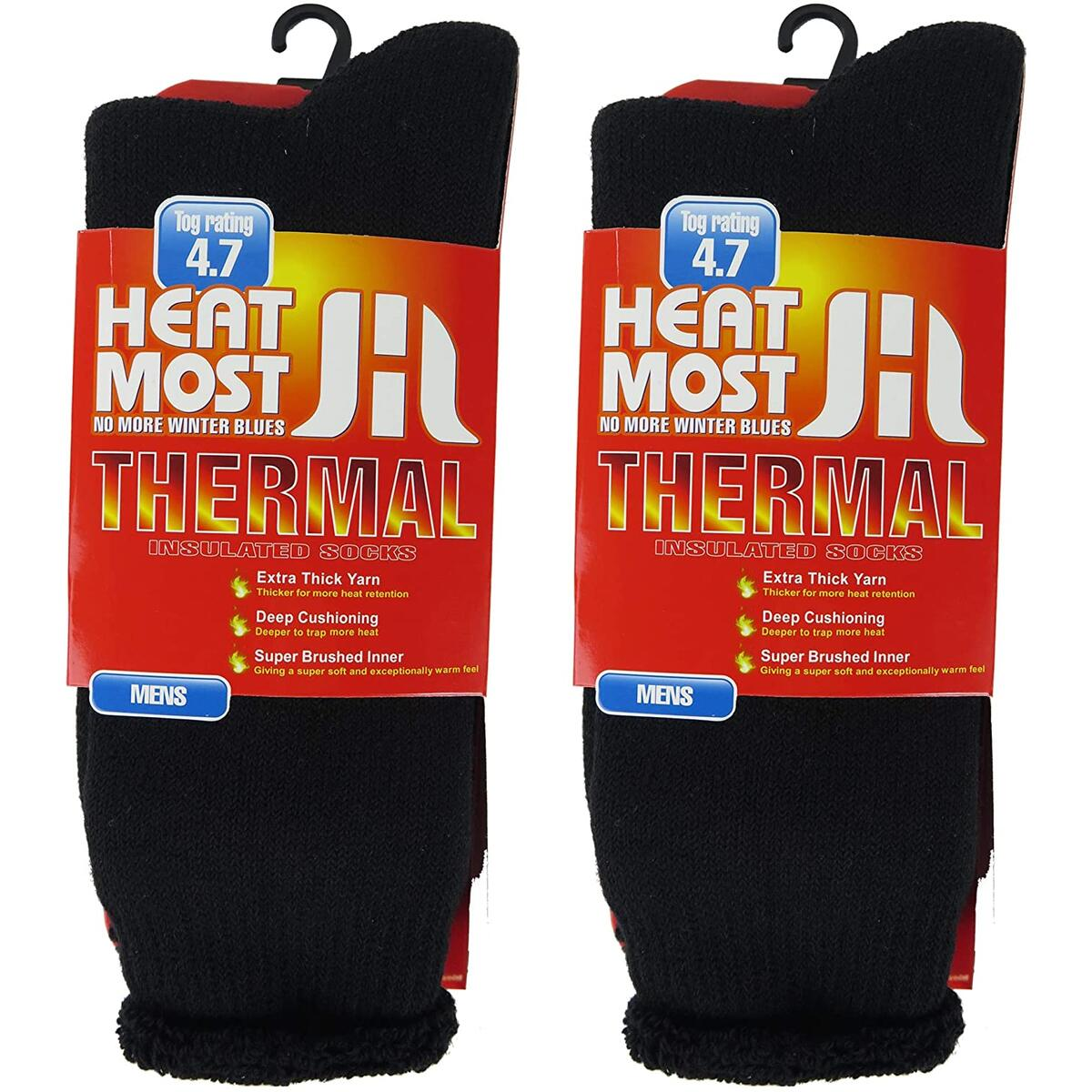Thermal Socks For Men and Women Insulated Winter Socks for Extreme Cold Weathers Debra Weitzner color Black 2 Pack