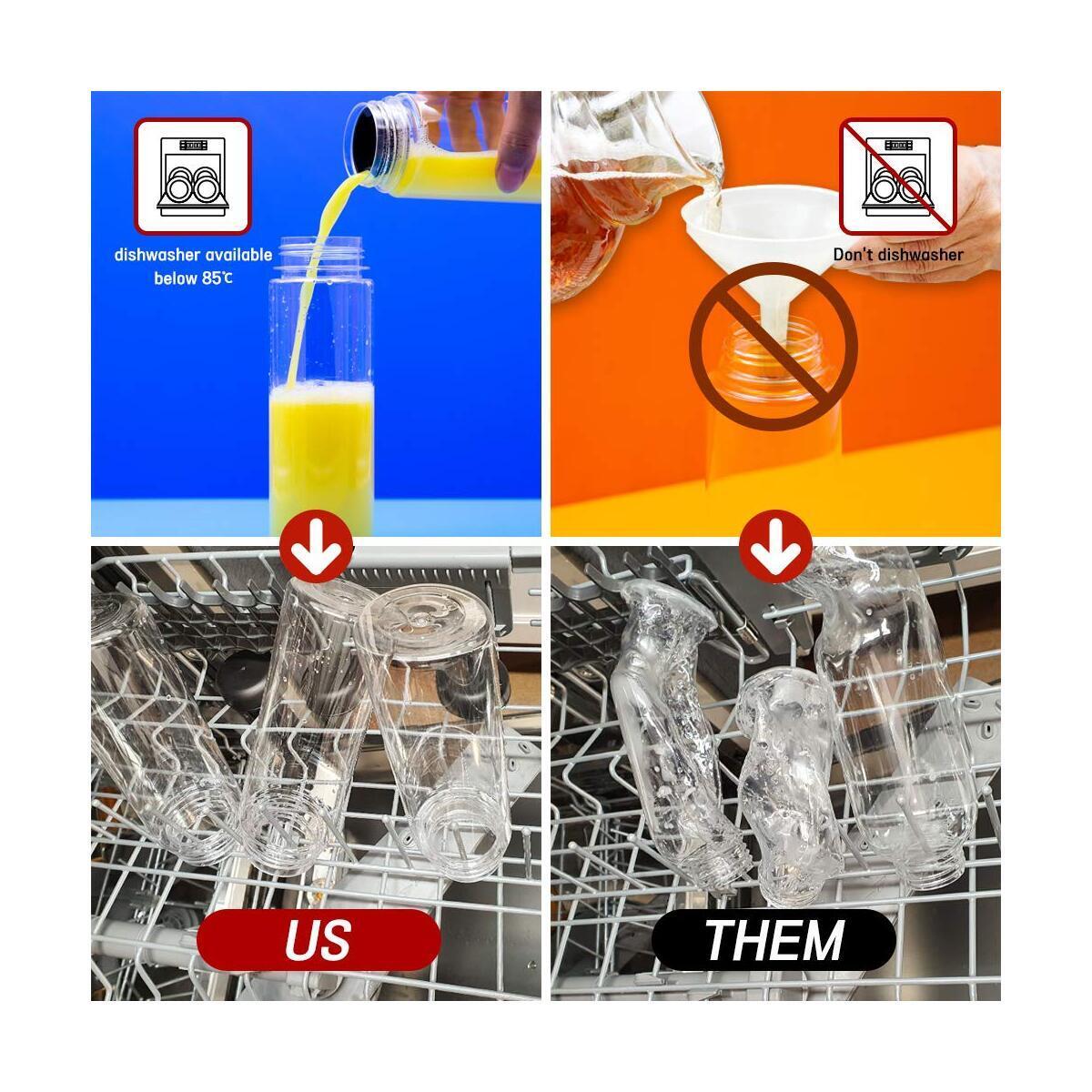 12STAIR 10pcs PET Plastic Juice Bottles 16oz Plastic Bottles with caps Drink Container Smoothie Bottle Dishwasher Safe Food Grade BPA Free Milk and Other Beverages