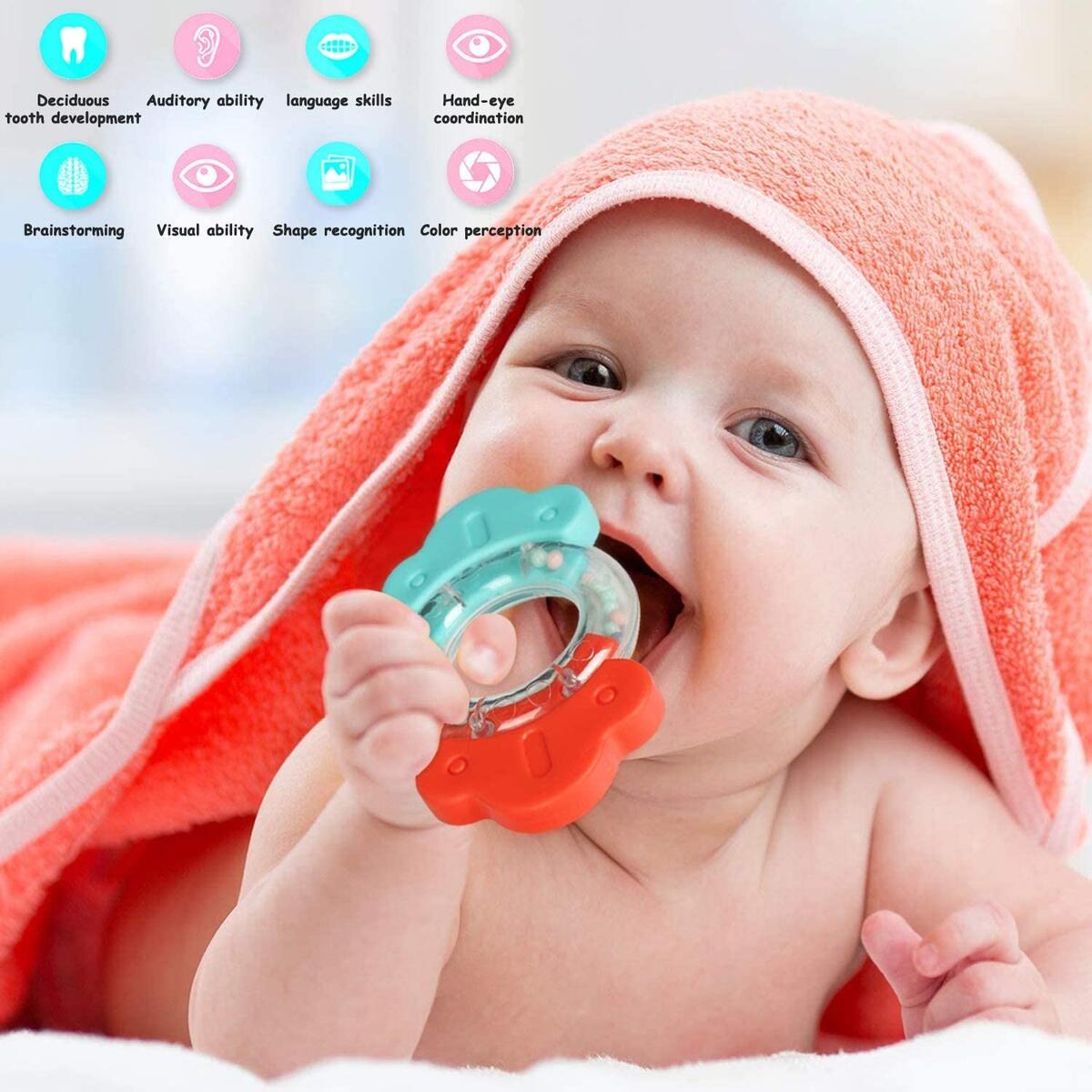Baby Rattles Set 12Pcs Chewing Silicone Teether Shaker Infant Grasping Grab Toy Spin Shaking Bell Musical Toy SeEarly Educational Toy with Storage Box for Toddler Newborn Baby Infant Boys Girls