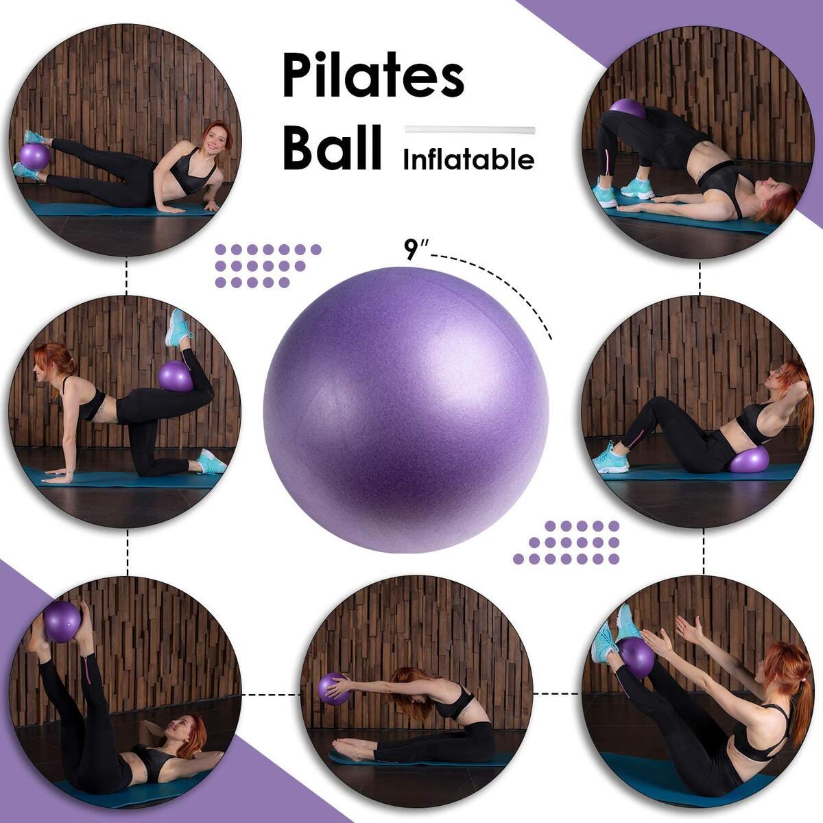 LUSHFIT Pilates Yoga Fitness Set - Pilates Ring - Pilates Ball - Yoga Stretching Strap - Resistance Bands Set - Exercise Bands Set - 8-Shaped Stretch Band, Adjustable Jump Rope - Home Kit (23 Pcs)